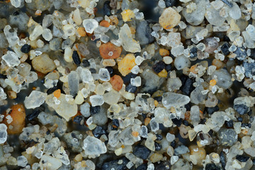 Extreme close-up of the sand grains