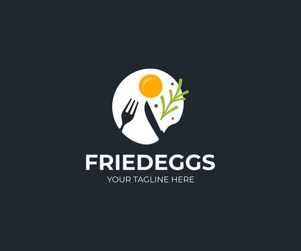 Fried egg logo template. Morning breakfast vector design. Fast food and rosemary logotype