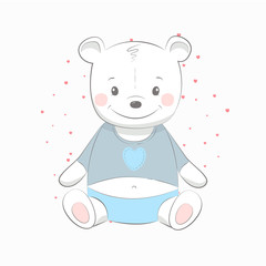 Cute vector illustration with bear baby for baby wear and invitation card.