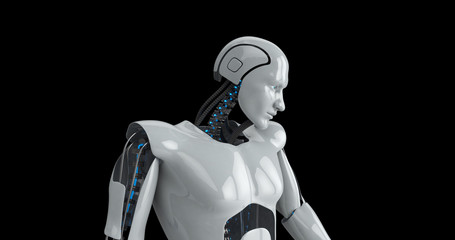 Humanoid futuristic male robot touching screen. 3D Render