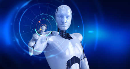 Humanoid male robot activating digital hud. 3D Render