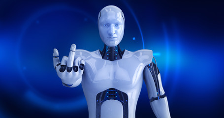 Humanoid futuristic male robot giving middle finger. 3D Render