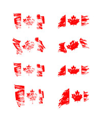 Vintage Canadian flag set. Vector flags of Canada on grunge textures.