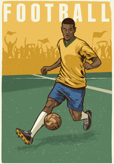 hand drawing retro style of soccer player
