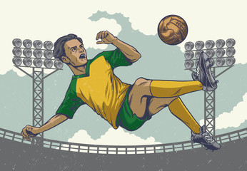 hand drawing soccer player jumping kick in retro style