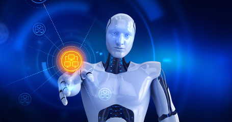 Humanoid robot touching on screen then computer network symbols appears. 3D Render