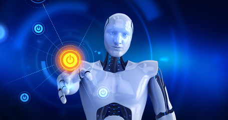 Humanoid robot touching on screen then start symbols appears. 3D Render