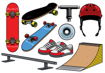 skateboard objects set