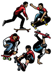 skateboard player set
