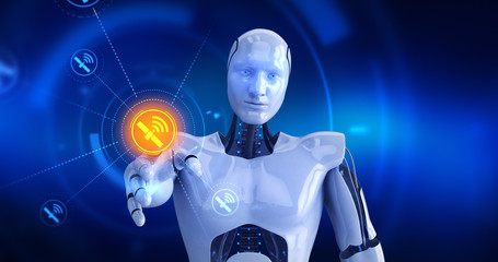 Humanoid robot touching on screen then space satellite symbols appears. 3D Render