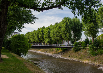 Urban views and landscapes on the river Weise. Basel, Switzerland.