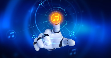 Robot hand touching on screen then musical note symbols appears. 3D Render