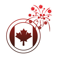 canadian flag button with fireworks vector illustration design