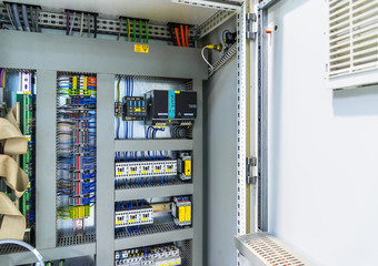 Power distribution control panel. Electricity.