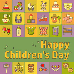 Happy Childrens Day. Toys, clothes and kids accessories.