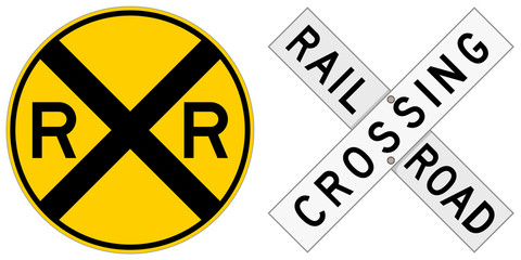 Vector illustration of two railroad crossing signs: a round sign and a crossbuck.