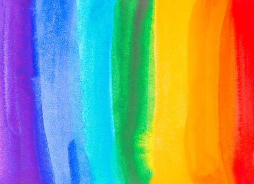 rainbow spectrum watercolor paint splash background . illustration for design wedding invitation, greeting or birthday card, web banner, tag, label, logo and text