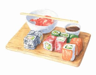 Hand drawn watercolor sushi set on wooden board, isolated on white background. Food design.