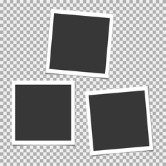 Set of photo frame with shadow. Vector template for your trendy photo or image