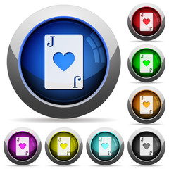 Jack of hearts card round glossy buttons