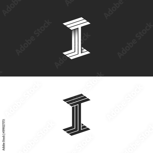 Letter I Logo Isometric Symbol Modern Monogram Black And White