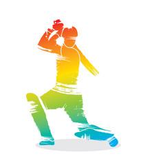 cricket player ready hit shot design