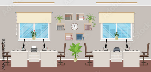 Openspace interior design with four workplaces office interior concept including office furniture and windows