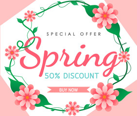 Spring sale background vector with flowers  illustration template or banner