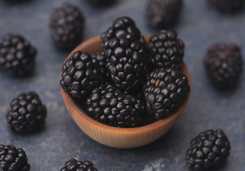 Fresh Plump Blackberries on a Slate Countertop