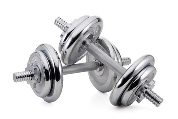 Steel dumbbell and weights.