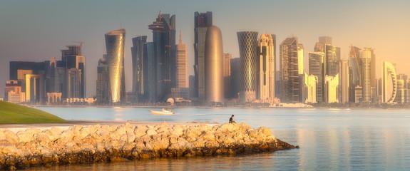 Skyline of West Bay and stony bank Doha, Qatar