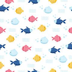 fish cartoon seamless pattern