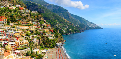 Positano, Amalfi Coast, Campania, Italy. Panoramic view on old town at sunny day
