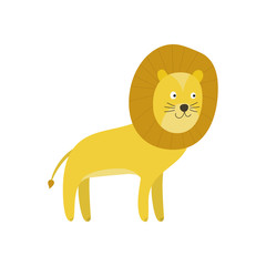 Cute cartoon smiling yellow lion character with mane. Childish flat illustration of animals king lion for kids book design, stickers, educational and fun games, print