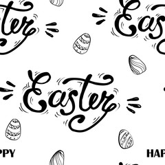 Happy Easter lettering on seamless background. Seamless pattern with eggs. Vector illustration.