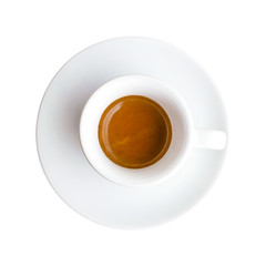 Top view of hot drink espresso coffee cup isolated on white background, clipping path included.