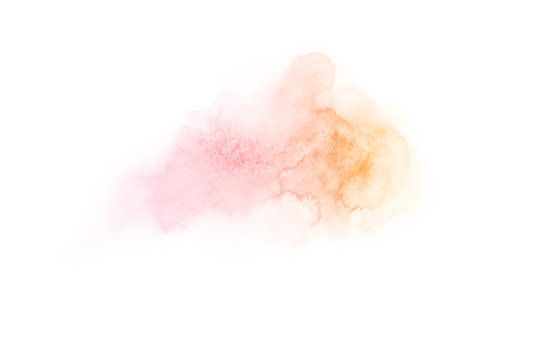 rainbow ombre pink, orange, yellow, violet, blue, magenta hand draw watercolor  splash backdrop. Ombre background for text, logo, label, tag, card isolated on white