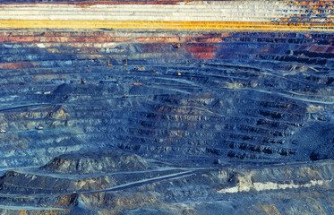 Detail of mining levels at open mine pit