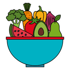 kitchen bowl with vegetables and fruits vector illustration design