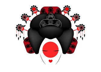 Geisha Portrait of Japanese or asian girl, traditional style with Japanese hairstyle, madama butterfly doll, Chinese or Japanese culture, beautiful fashion vector illustration isolated