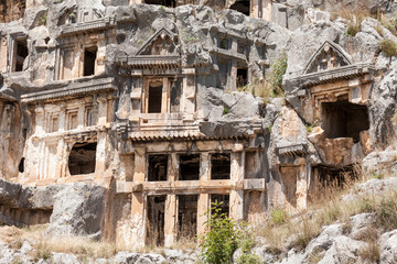 Ancient lycian necropolis  with tomb carved in rocks in Mira,