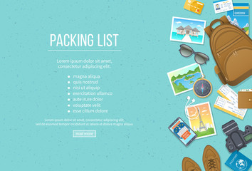 Packing list, travel planning. Preparing for vacation, travel, journey, trip. Baggage, air tickets, passport, wallet, guidebook, camera, compass, headphones, shoes. Place for text. Top view Vector