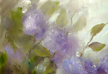 Lilac flowers ander rain. Spring flowers invitation oil painting on canvas