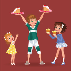 Boy holds plate in hands treat girls, children eating sweet on dinner, family brother and two sisters in dresses isolated vector illustration