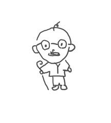 怒ると恐いおじいちゃん。僕の街のみんな。子供の落書き風。ゆるいイラスト線画、ラフ、下絵、塗り絵