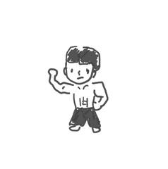中国拳法使いのリーさん。僕の街のみんな。子供の落書き風。ゆるいイラスト線画、ラフ、下絵、塗り絵