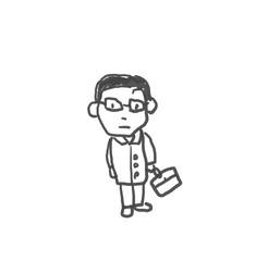 時々うちにくる営業の佐藤さん。僕の街のみんな。子供の落書き風。ゆるいイラスト線画、ラフ、下絵、塗り絵