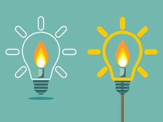 Candle on light bulb two variant. Stock flat vector illustration.