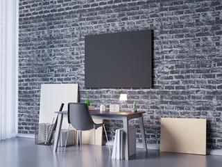 3D illustration of poster frame template, workspace mock up, background