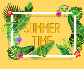 Summer tropical vector illustration with exotic palm leaves, hibiscus flowers and Hello Summer handlettering.